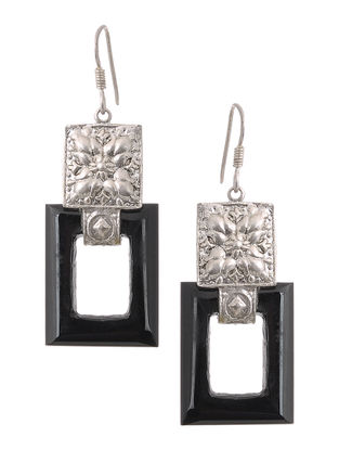 Black Onyx Silver Earrings with Floral Motif