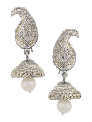 Pearl Drop Silver Jhumkis with Paisley Design