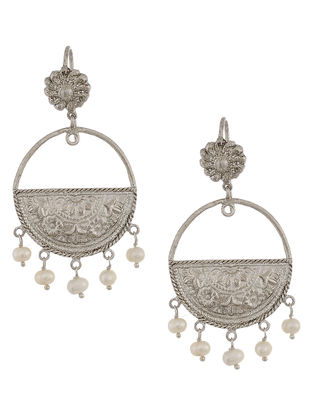 Pearl Drop Silver Earrings with Floral Motif