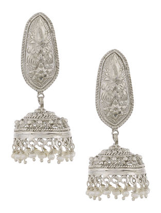 Pearl Drop Silver Jhumkis with Floral Motif