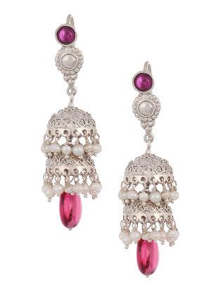Pink Hydro Cabochon Pearl Drop Silver Jhumkis