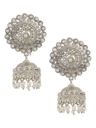 Pearl Drop Silver Jhumkis with Floral Design