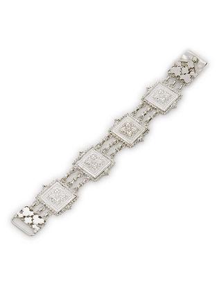 Classic Silver Bracelet with Floral Motif