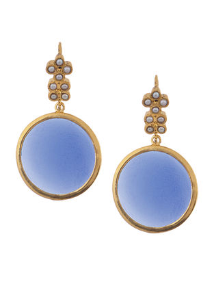 Blue Gold Tone Silver Earrings with Pearls