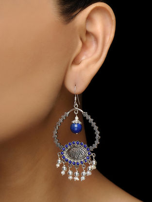 Blue Corundum and Lapis Lazuli Silver Earrings with Pearls