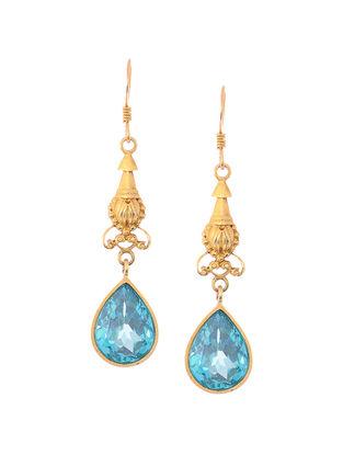 Faceted Aqua Gold Tone Silver Earrings