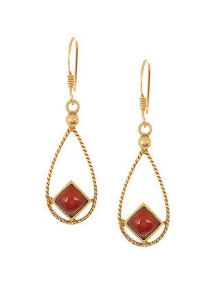 Garnet Gold Tone Silver Earrings