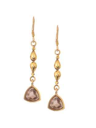 Faceted Smoky Topaz Gold Tone Silver Earrings