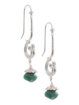 Green Onyx Silver Earrings