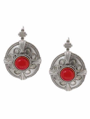 Red Hydro Cabochon Silver Earrings with Floral Design