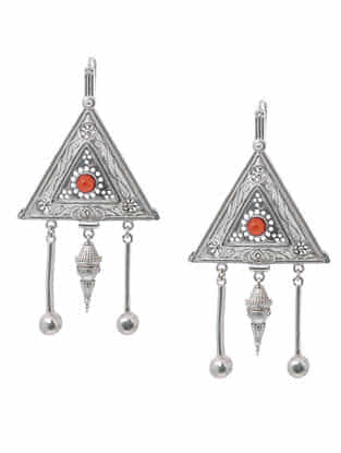 Red Hydro Cabochon Silver Earrings