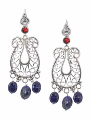 Red Hydro Cabochon and Lapis Lazuli Silver Earrings
