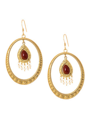 Garnet Cabochon and Pearl Gold Tone Silver Earrings