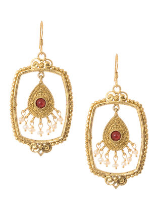 Red Hydro and Pearl Gold Tone Silver Earrings