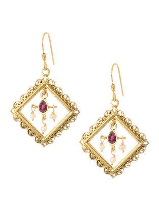 Faceted Garnet Gold Tone Silver Earrings