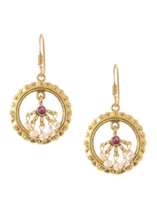 Pink Hydro Cabochon and Pearl Gold Tone Silver Earrings