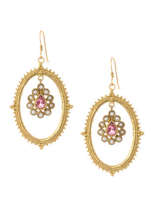 Pink Faceted Hydro and Pearl Gold Tone Silver Earrings