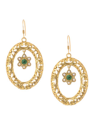 Green Onyx Cabochon and Pearl Gold Tone Silver Earrings