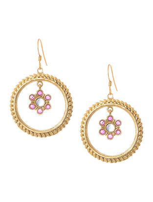 Pink Hydro Cabochon Gold Tone Silver Earrings