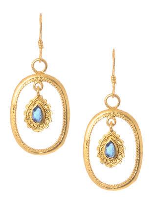 Blue Corundum Cabochon Gold Tone Silver Earrings