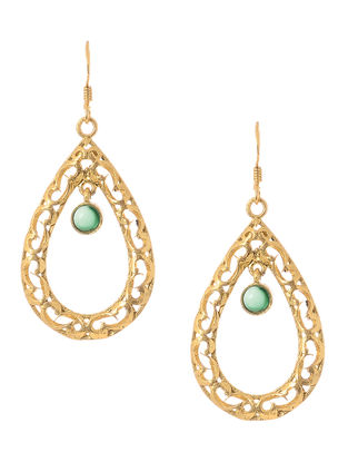 Green Onyx Cabochon Gold Tone Silver Earrings