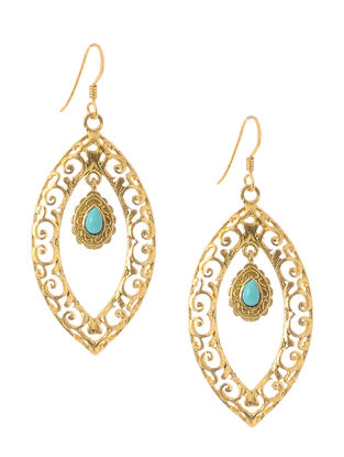 Turquoise Cabochon Gold Tone Silver Earrings