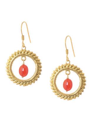 Carnelian Gold Tone Silver Earrings