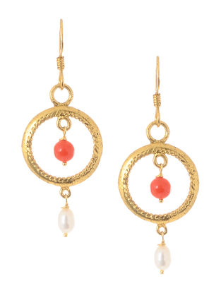 Coral and Pearl Gold Tone Silver Earrings