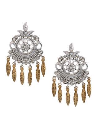 Pearl Dual Tone Silver Earrings