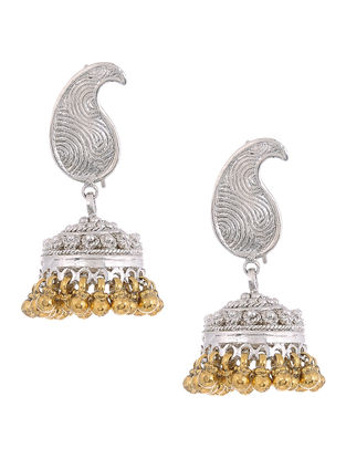 Dual Tone Silver Jhumkis with Paisley Design