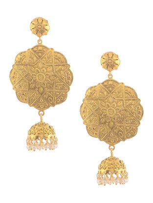 Pearl Gold Tone Silver Jhumkis