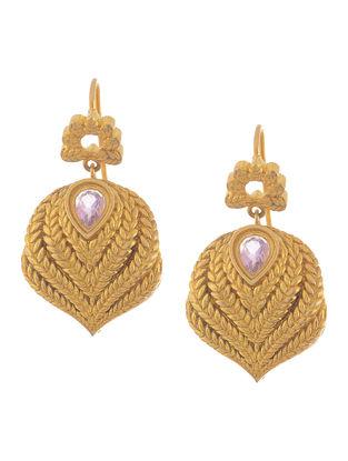 Amethyst Gold Tone Silver Earrings