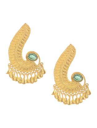Green Glass Gold Tone Silver Earrings
