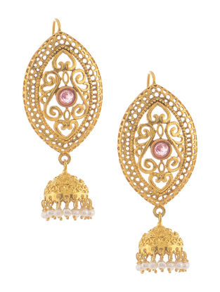 Pink Hydro and Pearl Gold Tone Silver Jhumkis