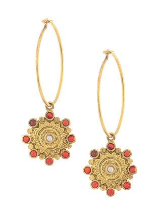 Garnet and Pearl Gold Tone Silver Earrings