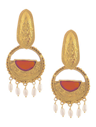 Red Glass Gold Tone Silver Earrings with Pearls