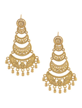 Gold Tone Silver Earrings with Floral Motif
