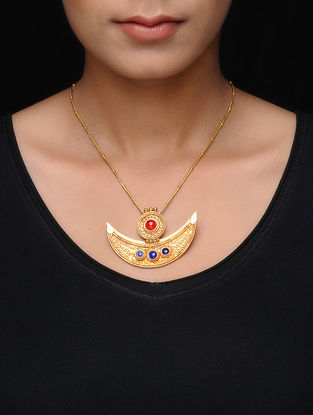 Carnelian and Lapis Lazuli Gold Tone Silver Necklace