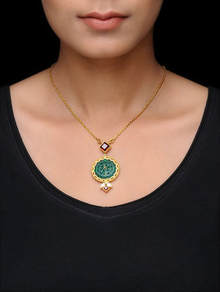 Green Onyx and Garnet Gold Tone Silver Necklace
