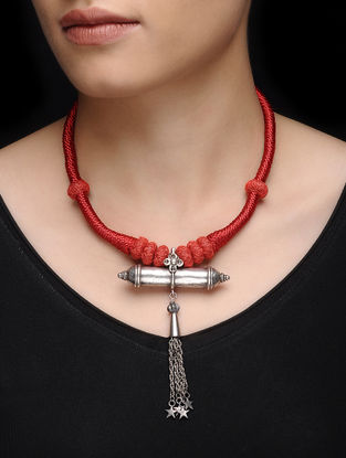 Red Thread Tribal Silver Necklace with Taveez Design