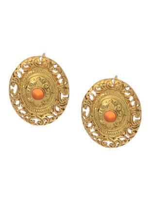 Coral Gold Tone Silver Earrings