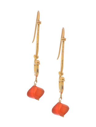 Red Gold Tone Silver Earrings
