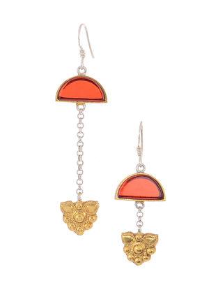 Red Glass Dual Tone Silver Earrings