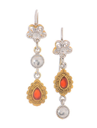Red Dual Tone Silver Earrings with Floral Design