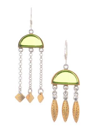 Green Glass Dual Tone Silver Earrings