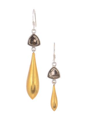 Brown Dual Tone Silver Earrings