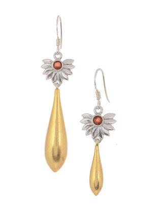 Red Dual Tone Silver Earrings