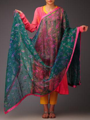 Green-Pink Fauna Silk Dupatta