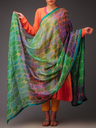 Lime-Teal Geometric Silk Dupatta