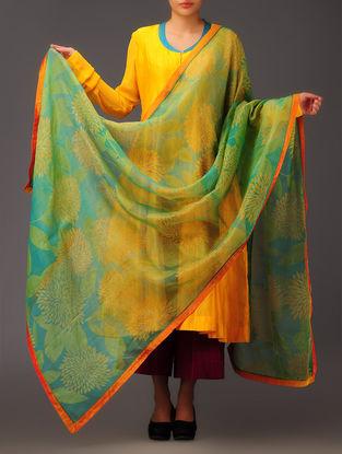 Lime-Amber Leaf Silk Dupatta
